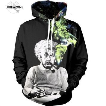 Einstein Smoking Hoodie Black 3D Space Galaxy Print Hooded Men Women Fashion Hip Hop Streetwear Hoody Funny Casual Sweatshirts