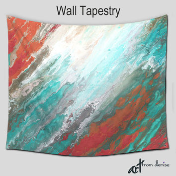 Tapestry Wall Hanging, Abstract Wall art, Hippie Boho Tapestries Large, Teal gray coral aqua, Bohemian, Home decor, Outdoor, Patio Garden