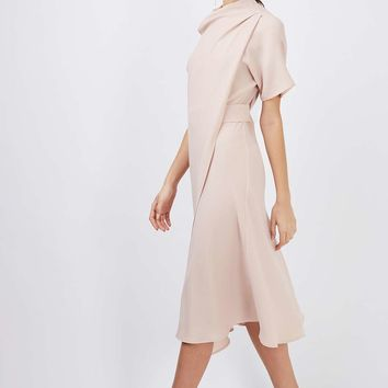 High Neck Drape Midi Dress - New In Dresses - New In