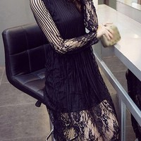 Black Long Sleeve High Waist Lace Dress - USD $27.70