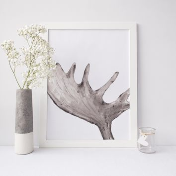 Modern Minimalist Lodge Moose Antler Painting Wall Art Print
