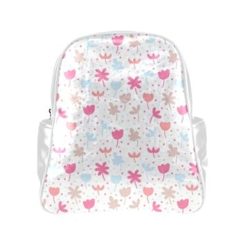 Personalized Backpack Little Pink Flowers Pockets Unisex Classic School Bag