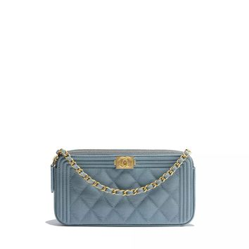 BOY CHANEL Clutch with Chain, grained calfskin & gold-tone metal, blue - CHANEL