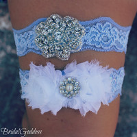 SALE-Bridal Garter Set - Toss Garter - Bridal Garter -Wedding - Bride - Blue Garter-Something Blue
