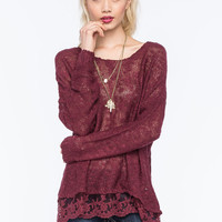 WOVEN HEARTS Lace Trim Womens Slub Sweater | Pretty Peasant