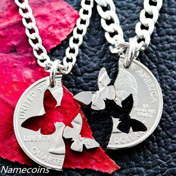 Interlocking Butterfly Puzzle Necklaces by Namecoins