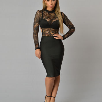 Luxe Bandage Pencil Skirt - Black