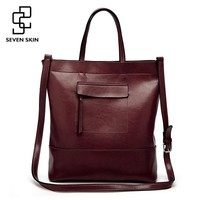 SEVEN SKIN Brand 2017 Solid Leather Women Tote Bags Female Fashion Bucket Women's Shoulder Bag Big Handbag Large Capacity Bags