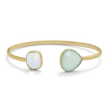 Sterling Silver 14k Yellow Gold Plated Rainbow Moonstone & Green Chalcedony Bangle Bracelet