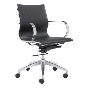 Glider Low Back Office Chair Black Chromed Steel, Brushed Aluminum