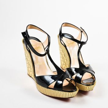 HCXX Christian Louboutin Black Patent Leather Gold Mirror   Cotton Club   Wedges