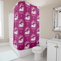 Funny Unicorn Saying Magical AF Shower Curtain