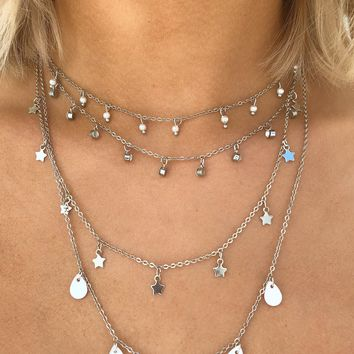 Just A Little Late Necklace: Silver