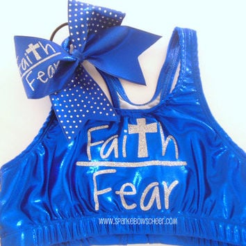 Faith over Fear Metallic Sports Bra and Bow by SparkleBowsCheer