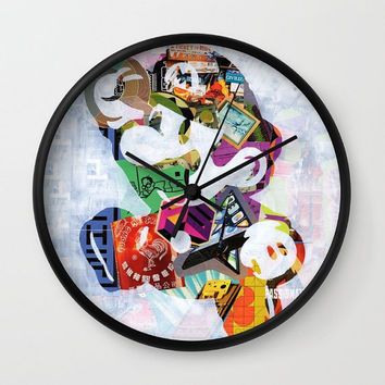 Mario wall clock, Unique Valentine's gift idea, decorative clock, mixed media collage art, Super Mario Brothers, gift for gamers