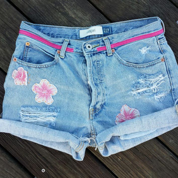 High Waisted Denim Shorts - Button Fly - Distressed - Grunge - Size US 5/6