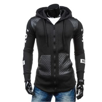 Winter Men's Leather Hoodie Warm Hooded Sweatshirt Coat Jacket Outwear Sweater