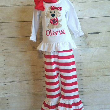 Girls Valentines day outfit, Valentines, monogrammed outfit, school outfit, stripe pants, Valentines appliqué,  puppy and heart,
