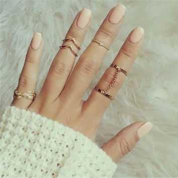 SHUANGR 2 Sets Per 6pcs Fashion Unique Style Gold plated Stacking Midi Finger Knuckle Rings Cute Leaf Ring Set For Women Girls