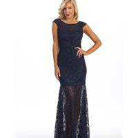 Preorder - Navy Blue Beaded Lace Cap Sleeve Illusion Long Gown 2016 Prom Dresses