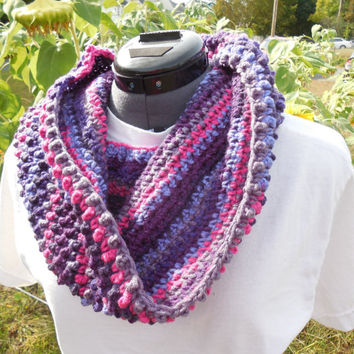 Textured Cowl Scarf, Crochet Loop, Neck Warmer Scarf, Wildberry Stripes