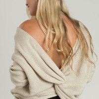 Carly Beige Twisty Sweater