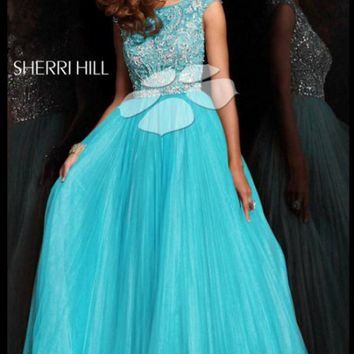 Aqua Sherri Hill 2984 Pleated Ball Gown Prom Dress [2984] - $325.00 : 2015 Dress Gown Store|DressGownStore.com