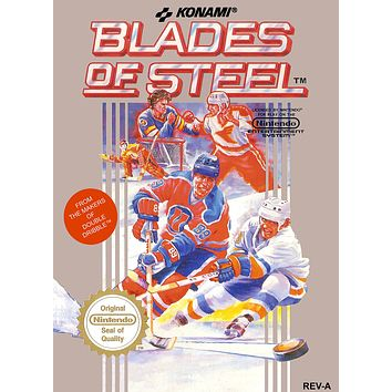 Retro Blades of Steel Game Poster//NES Game Poster//Video Game Poster//Vintage Game Cover Reprint