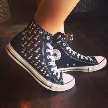 unique studded custom converse all star high tops chuck taylors all sizes colors