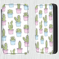 Cactus PU Leather Flip Cell Mobile Phone Case iPhone 4 4s 5 5s 5c , Samsung Galaxy S3 S4