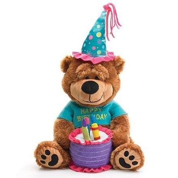 "Adorable Happy Birthday Teddy Bear With Cake That Plays ""Happy Birthday To You"""
