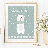 Christmas Printable, Christmas Prints, Polar Bear Print, Christmas Sign, Christmas Decorations, Christmas Cards, Merry Christmas, Wall Art