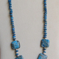 Dark Aqua Jasper Necklace, With Shell Beads, Sterling Silver Beads and Clasp, Statteam