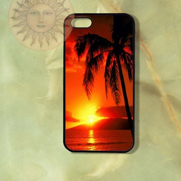 Sunset with Palm Tree -iPhone 5, iphone 4s, iphone 4, Samsung GS3 GS4 case ipod touch 5-Silicone Rubber or Hard Plastic Case, Phone cover