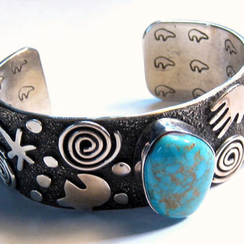 Vintage Sterling Silver Overlay Turquoise Cuff Bracelet Signed Native American