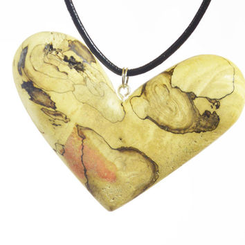 Wood Carving Necklace, Flame Box Elder Wood Sculpture, A perfect 5th Anniversary Wood gift for Her, Heart Jewelry Handmade in Ohio, by Carte