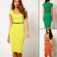 Office Lady Square Neck Cap Sleeve Formal Career Pencil Dress Bodycon Solid 6683