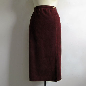 Vintage 1970s Pencil Skirt Ultrasuede Burgundy 70s Brodkin Midi Day Skirt Large