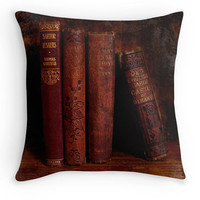 Red Books Throw Pillow, Library Scatter Cushion, Book Worm Gift, Cushion Cover