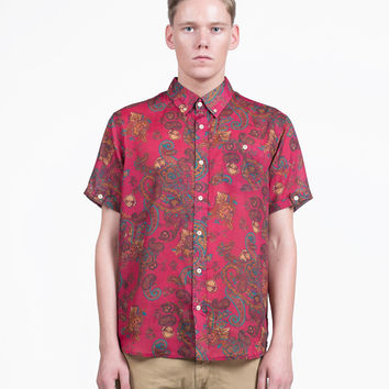 Paisley Button-Down Shirt in Burgundy