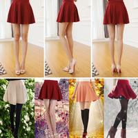 Girls Candy Color Stretch Waist Plain Skater Flared Pleated Mini Skirt