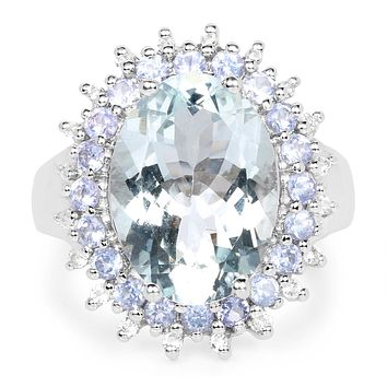 A 5CT Oval Cut Natural Blue Aquamarine & Tanzanite Halo Ring