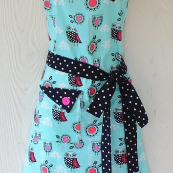 Owl Apron , Cute Owls, Polka Dots, Flowers, Vintage Inspired , Women's Full Apron , Retro Style Apron , KitschNStyle