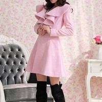 Sweety Pink Lotus Leaves Edge Coats Wholesale  : Wholesaleclothing4u.com