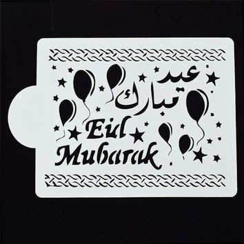 1Pcs Novelty Eid Mubarak design Reusable Stencil Airbrush Painting Art DIY Home Decor Scrap booking Album Crafts Free Shipping