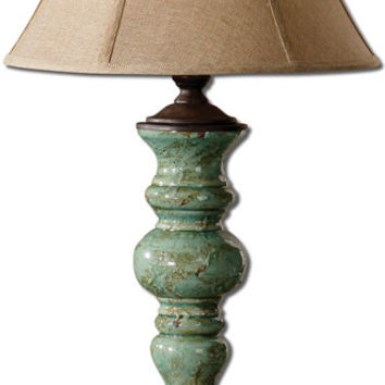 "0-021961>39""h Bettona 1-Light Table Lamp Antique Aqua Blue Glaze"