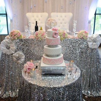 Sequin Tablecloth available in Silver and Gold perfect for weddings