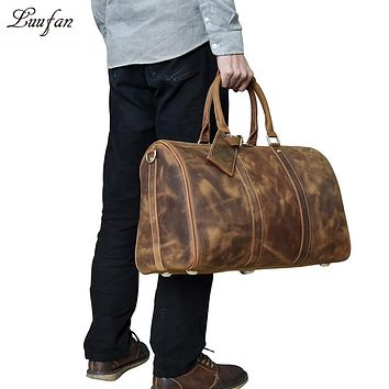 Men's Vintage Crazy horse leather travel duffel genuine leather travel bag Durable cow leather Weekend bag