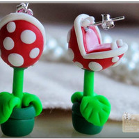 1 Pair Of Cute Unique super Mario Piranha Earrings Studs COOL CUTE