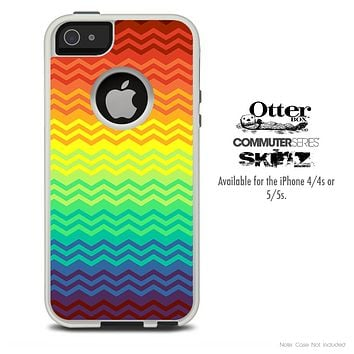 The Neon Colored Abstract Chevron Pattern Skin For The iPhone 4-4s or 5-5s Otterbox Commuter Case